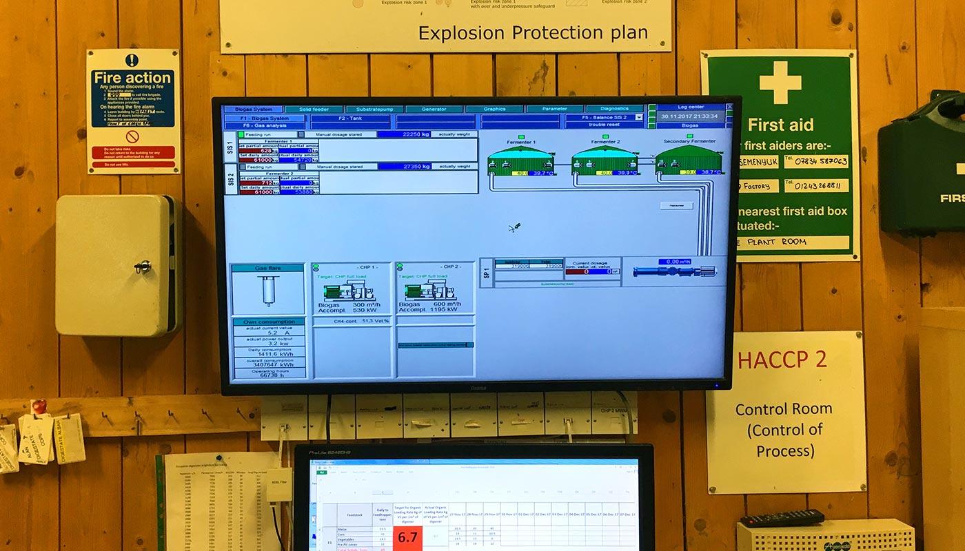 Photograph of the main Anaerobic Digester control room